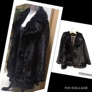 1950s True Vintage Faux Fur Coat Oversized Collar